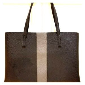 VINCE CAMUTO vegan leather LUCK tote black w/ gray